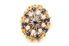 AN 18K SAPPHIRE AND DIAMOND RING