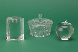 A TIFFANY & CO. CRYSTAL APPLE, DAUM CANDLEHOLDER & ONE OTHER
