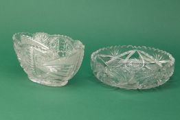 TWO CUT AND ETCHED LEAD CRYSTAL BOWLS