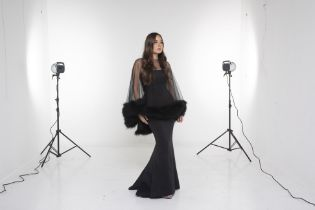 A JOVANI BLACK MERMAID GOWN & COVER UP