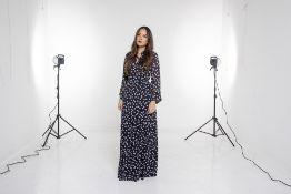 A GANNI 'ROMETTY GEORGETTE' NAVY & FLORAL MAXI DRESS