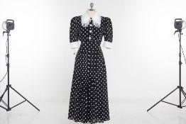 AN ALESSANDRA RICH BLACK & WHITE POLKA DOT DRESS