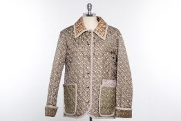 A BURBERRY ARCHIVE BEIGE QUILTED MONOGRAM JACKET