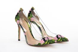 A PAIR OF GIANVITO ROSSI FLORAL PRINTED HEELS EU 38.5