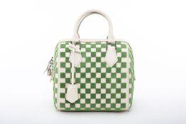 A LOUIS VUITTON 'DAMIER' GREEN SPEEDY CUBE BAG