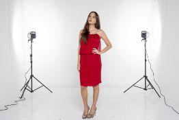 A LANVIN RED SILK DRESS