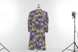 A PRADA MULTICOLOURED FLORAL SILK DRESS