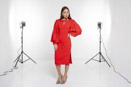AN OSMAN RED SHIFT DRESS