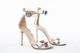 A PAIR OF GIANVITO ROSSI SILVER LEATHER STRAPPY HEELS EU 38