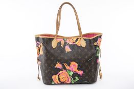 A LOUIS VUITTON 'NEVERFULL' ROSE PAINTED MONOGRAM TOTE BAG
