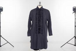 A MAX MARA 'SPEZIE' BLACK RUFFLED SHIRT DRESS