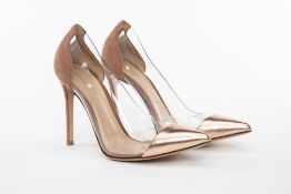 A PAIR OF GIANVITO ROSSI GOLD LEATHER & SUEDE HEELS EU 38.5