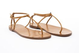 A PAIR OF VALENTINO TAN LEATHER SANDALS EU 38