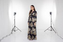 A PAROSH BLACK & GOLD MAXI DRESS