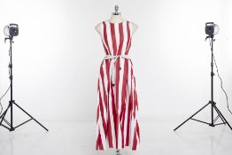 A MAX MARA 'BOCCALE' RED & WHITE STRIPE DRESS