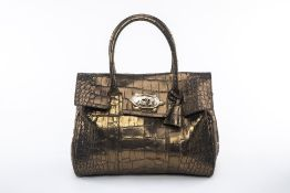 A MULBERRY 'BAYSWATER' METALLIC OLIVE TOTE BAG