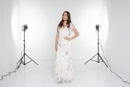 A JENNY PACKHAM CREAM SILK EMBELLISHED GOWN