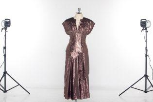 A LANVIN METALLIC COPPER COCKTAIL DRESS