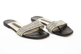 A PAIR OF GINA CRYSTAL DIAMANTE EMBELLISHED SANDALS US 5.5