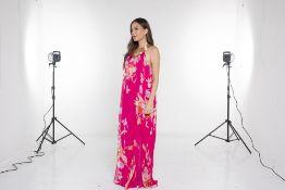 A MATTHEW WILLIAMSON 'ESCAPE' PINK FLORAL MAXI DRESS