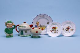 A SHELLEY THREE PIECE TEA SERVICE BY MABEL LUCIE ATWELL