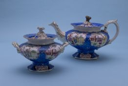A CHINOISERIE TEAPOT AND TWIN HANDLED SUGAR BOWL