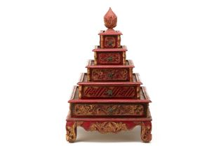 A PERANAKAN CARVED RED & GILT FIVE-TIERED BOX