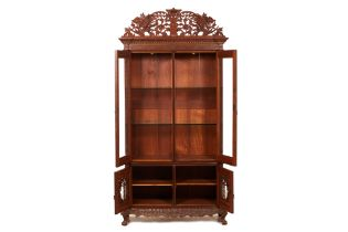 A PERANAKAN CARVED AND PARCEL GILT CUPBOARD / CABINET
