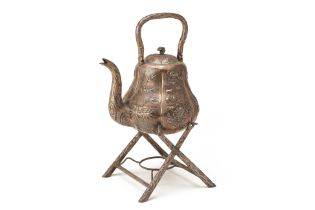 A LARGE CHINESE EXPORT SILVER KETTLE ON STAND