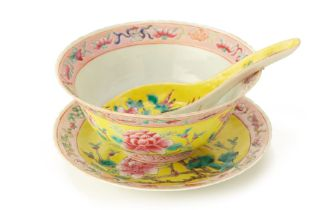 AN UNUSUAL PERANAKAN YELLOW-GROUND BOWL, PLATE AND SPOON SET