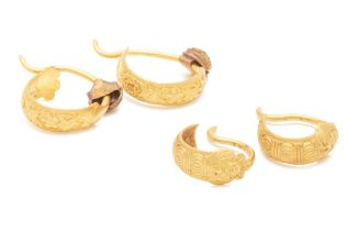 TWO PAIRS OF ANTIQUE GOLD EARRINGS