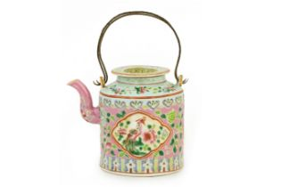 A PERANAKAN PINK GROUND AND WHITE PANEL CYLINDRICAL TEAPOT