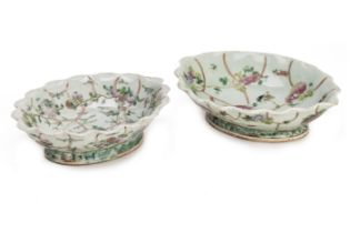TWO SIMILAR FAMILLE ROSE FOOTED CELADON DISHES