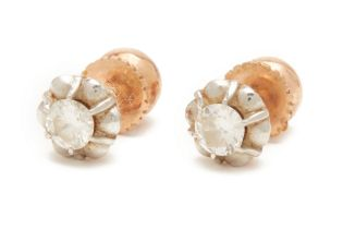 A PAIR OF ANTIQUE ROSE GOLD AND DIAMOND EAR STUDS