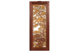 A PERANAKAN CARVED AND PARCEL GILT PANEL