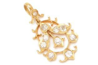 AN ANTIQUE GOLD AND DIAMOND PENDANT