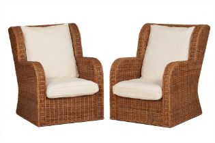 A PAIR OF ELEMENTS WICKER ARMCHAIRS