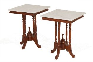 A PAIR OF MARBLE TOPPED SIDE TABLES