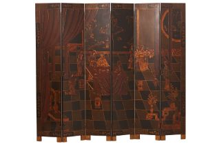 A CHINESE BLACK LACQUERED SCREEN