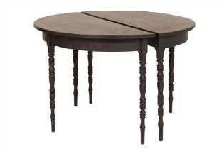 A PAIR OF DEMI LUNE CONSOLE TABLES