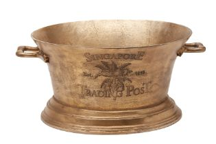 A LARGE GOLD FINISH OVAL ICE BUCKET