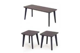 A PAIR OF BLUE PAINTED SIDE TABLES AND A COFFEE TABLE