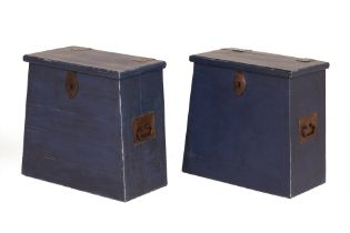 A PAIR OF BLUE PAINTED WOODEN BOXES