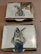 Lot of 2 x Vintage European Silver Topped and Horn Boxes with Stag and Fox Themes marked 900.