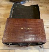 "Antique Asprey London Crocodile Skin Suitcase - 24"" x 16 1/4"" x 7"" with outer slip."