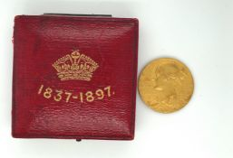 Boxed Queen Victoria Jubilee 1837-1897 Gold Coin - 25.5mm diameter and 12.71 grams.