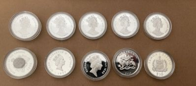 Lot of 10 Queen Mother Silver Proof Coins for Various Countries.