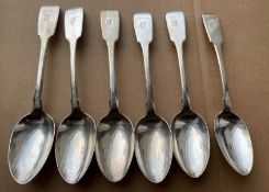 "Lot of 6 Scottish Provincial Silver William Ferguson - Elgin Silver Table Spoons - 6 7/8"" long."