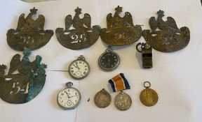 Lot of Napoleonic Brass Cap Badges, Military Watches, Medals etc.