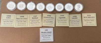 Lot of 8 Queen Mother Silver Proof Coins with certificates - each coin 31.47grams.